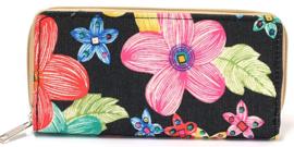 Zwarte portemonnee met bloemen