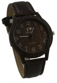 Donkerst bruine horloge met hout look