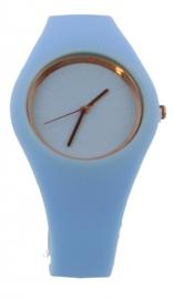 Blauwe horloge van rubberenband
