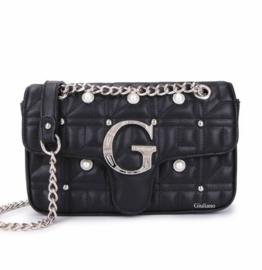 Zwarte schoudertas met parels van het merk giuliano