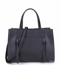 Zwarte handtas met ritsen van het merk giuliano