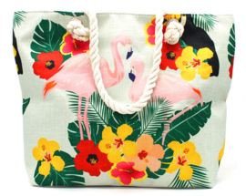 Multicolor strandtas met flamingo
