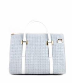 Wit/grijze leren gevlochten handtas van het merk giuliano
