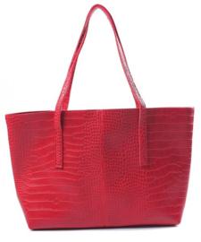 Rode croco shopper van het merk brakelenzo