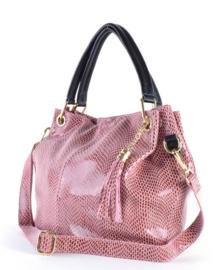 Roze leren handtas van het merk giluiano
