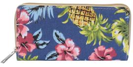 Blauwe portemonnee met pinapple en bloemen