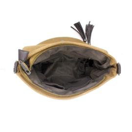 Bruine canvas schoudertas van het merk brakelenzo
