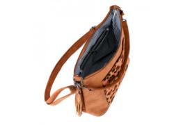 Donker camel kleurige handtas van het merk ook leuk