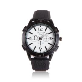 Zwarte horloge met siliconen band