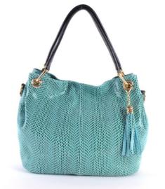 Turquoise leren handtas van het merk giuliano groot