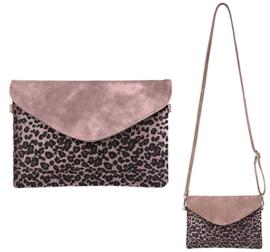 Roze clutch met luipaard print van het merk brakelenzo