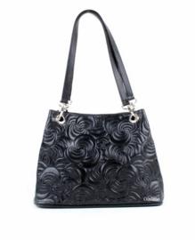Zwarte leren handtas met bloemenrelief van het merk giuliano