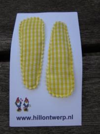 Haarknipjes geel/wit ruitje