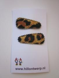 Haarknipje panter print bruin