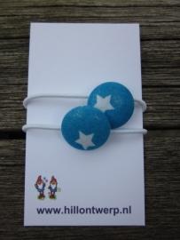 Haarelastiekjes blauw met sterren
