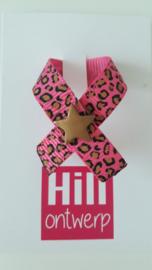 Roze lint met leopard print met gouden ster drukker