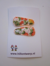 Haarknipje retro oranje bloemetje