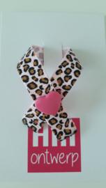 Zacht roze met leopard lintje met roze harte drukker