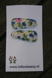 Haarknipje retro blauw bloemetje