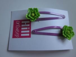 Paarse knipjes met groene bloem