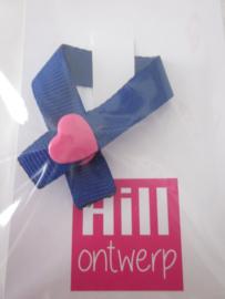 Blauw met roze hartedrukker
