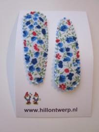 Haarknipje blauw/rood bloemetje