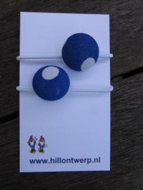 Haarelastiekjes blauw met witte stip
