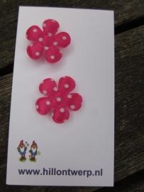Roze bloemetje met witte stippen