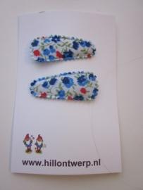 Haarknipje blauw bloemetje