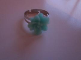 Ringetje met blauw bloemetje