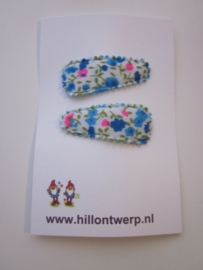 Haarknipje blauw/roze bloemetje