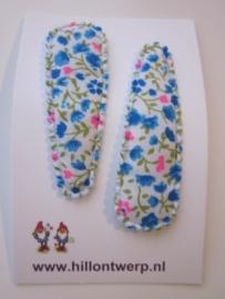 Haarknipjes turkoois/roze bloemetje