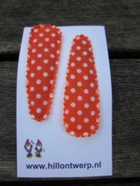 Haarknipjes oranje met wit stipje