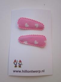 Haarknipje roze hartjes