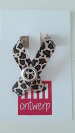 Leopard lintje met metalen drukker