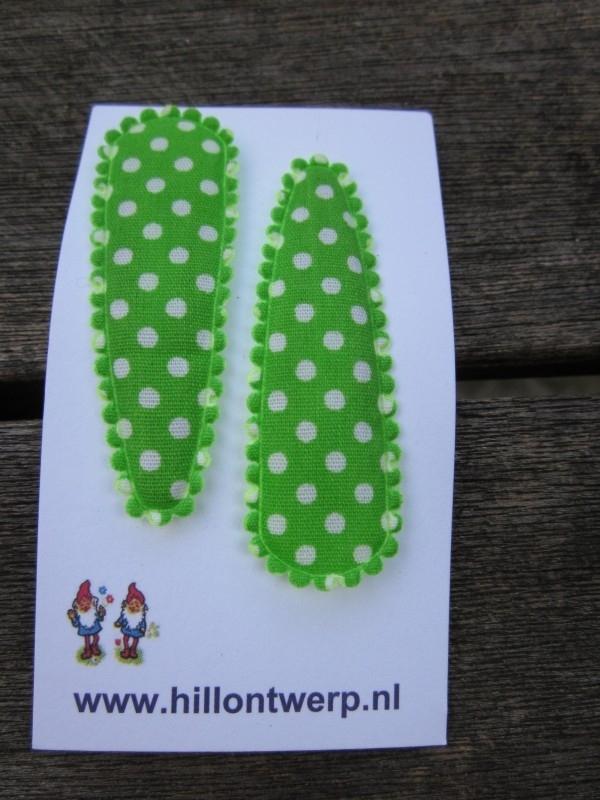 Haarknipjes groen met wit stipje