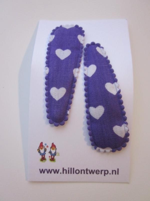 Haarknipje harten paars