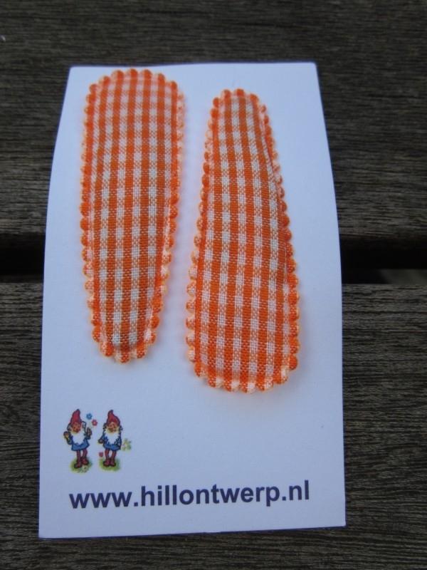 Haarknipjes oranje/wit ruitje