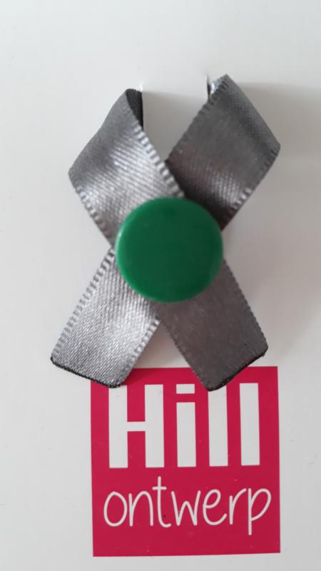 Grijs lint met groene ronde drukker