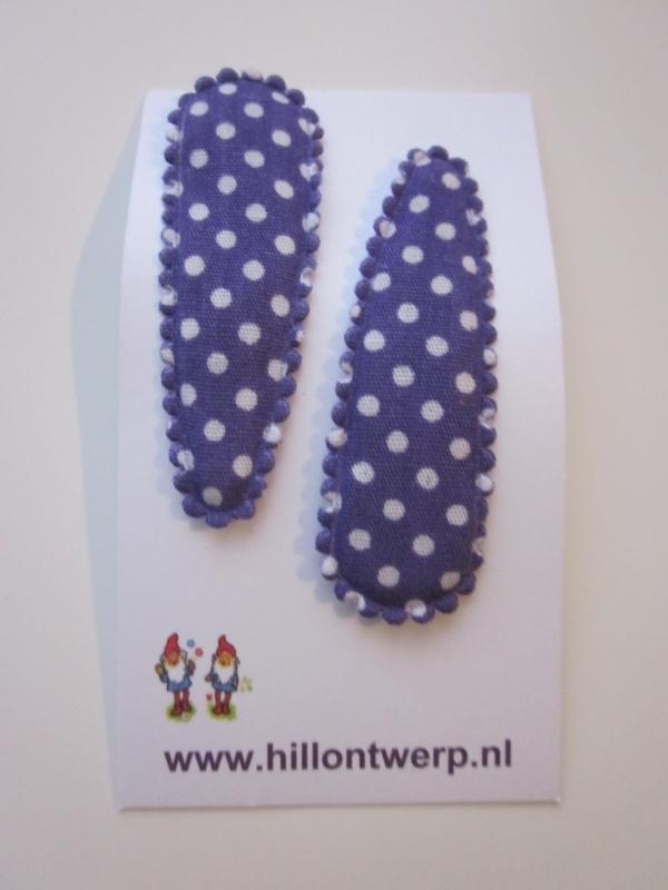 Haarknipje donkerblauw met wit stipje