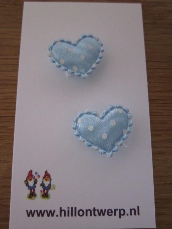 Licht blauw hartje met witte stipjes