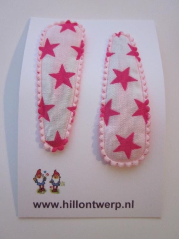 Haarknipjes sterren roze