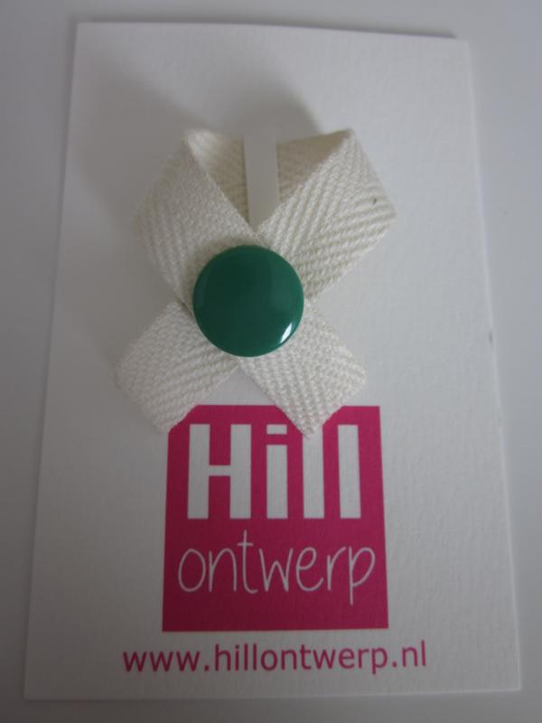 Ivoor wit lint met groene drukker