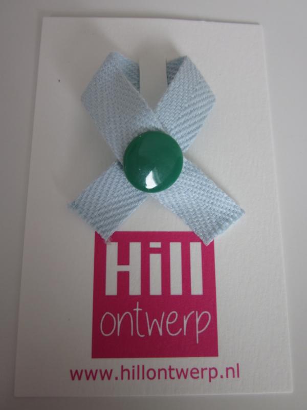 Blauw lint met groene drukker