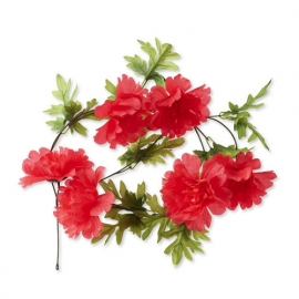 """Fietsdecoratie """"Bloemenstreng"""" Peony koral"""