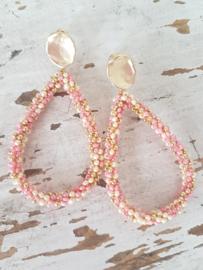 Gold-pink oorbellen