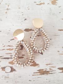 Beige-gold oorbellen