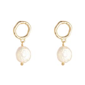 Shiny pearl oorbellen goud