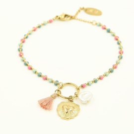 Armband heart and beads pink
