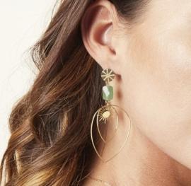 Green sunshine drop oorbellen